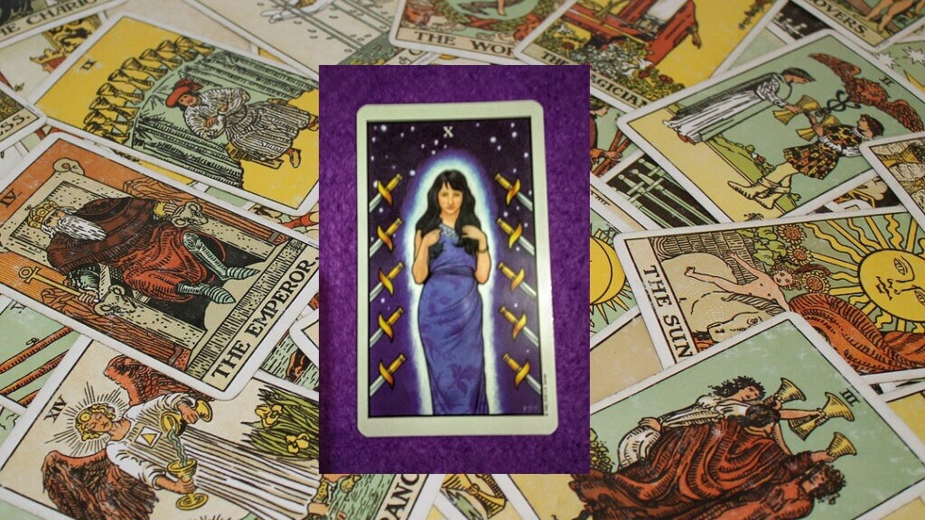 Carta de Tarot-El Diez de Espadas